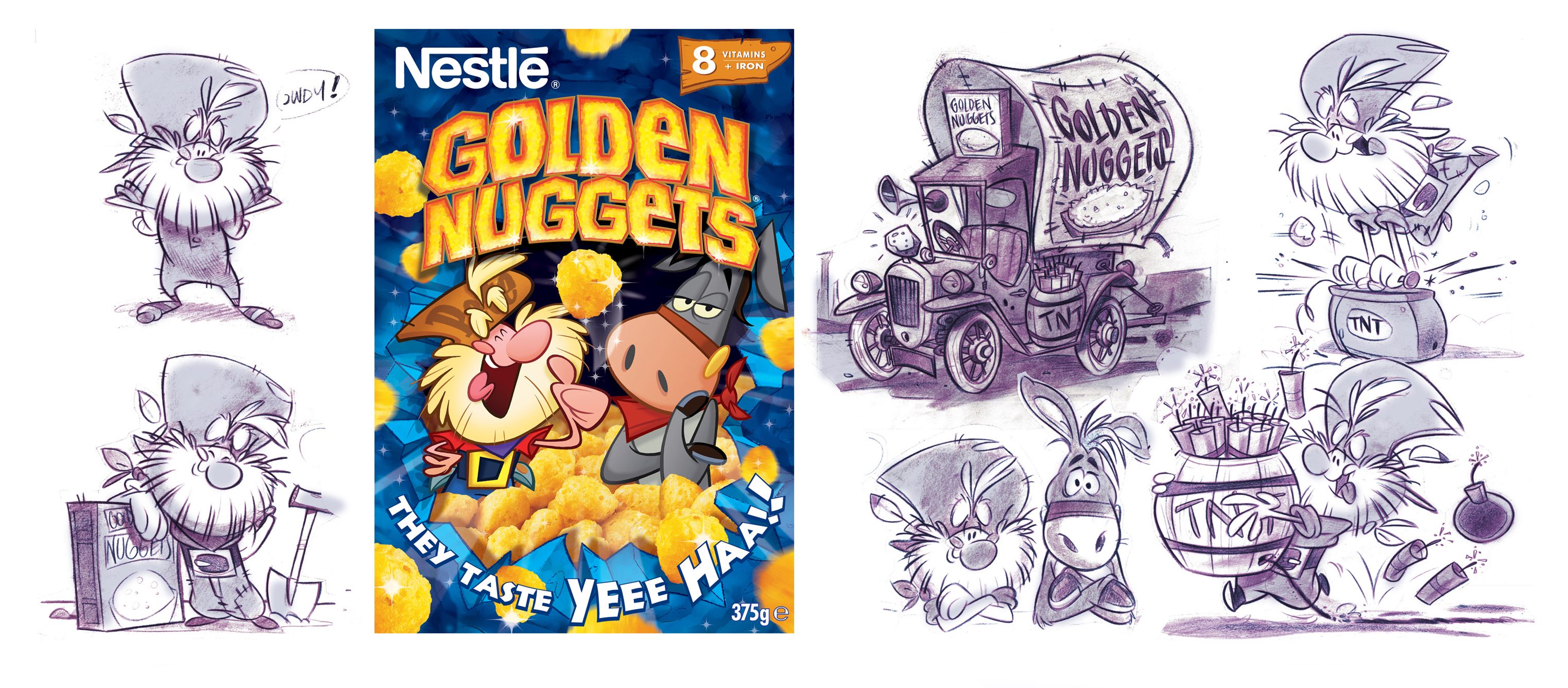 Golden Nuggets packaging and models