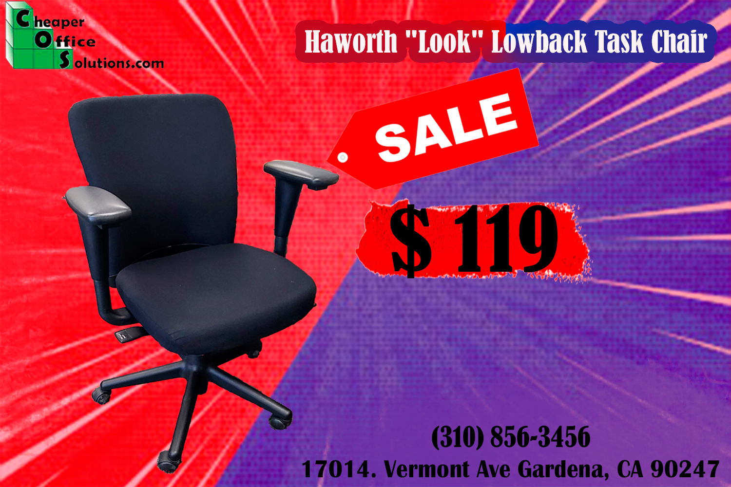 """Low-Back Haworth """"Look"""" Office Chair"""