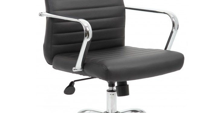 Boss Black Retro Task Chair with Chrome Fixed Arms