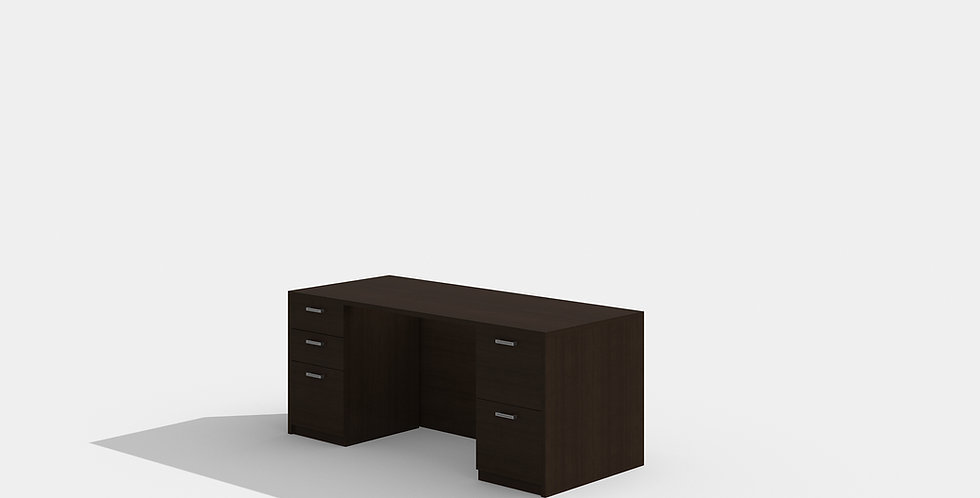 Cherryman Double Pedestal Desk (Black Cherry)
