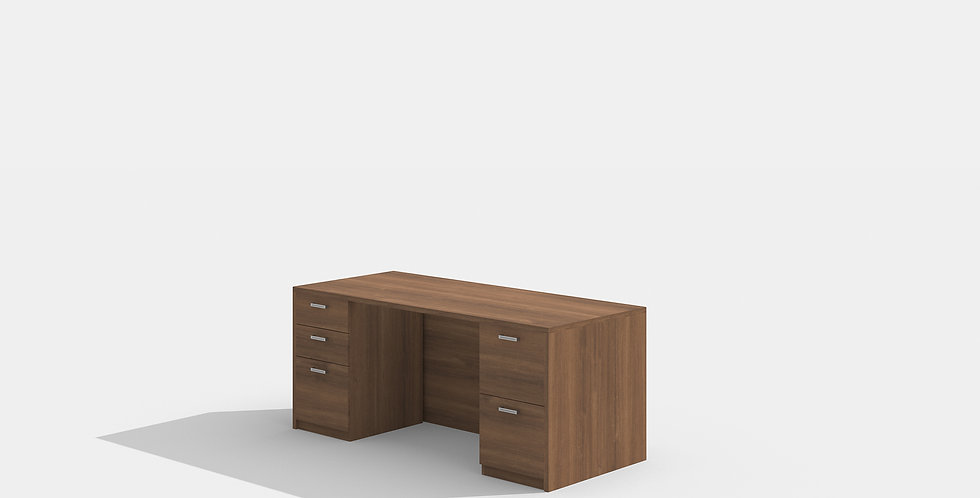 Cherryman Double Pedestal Desk (Walnut)