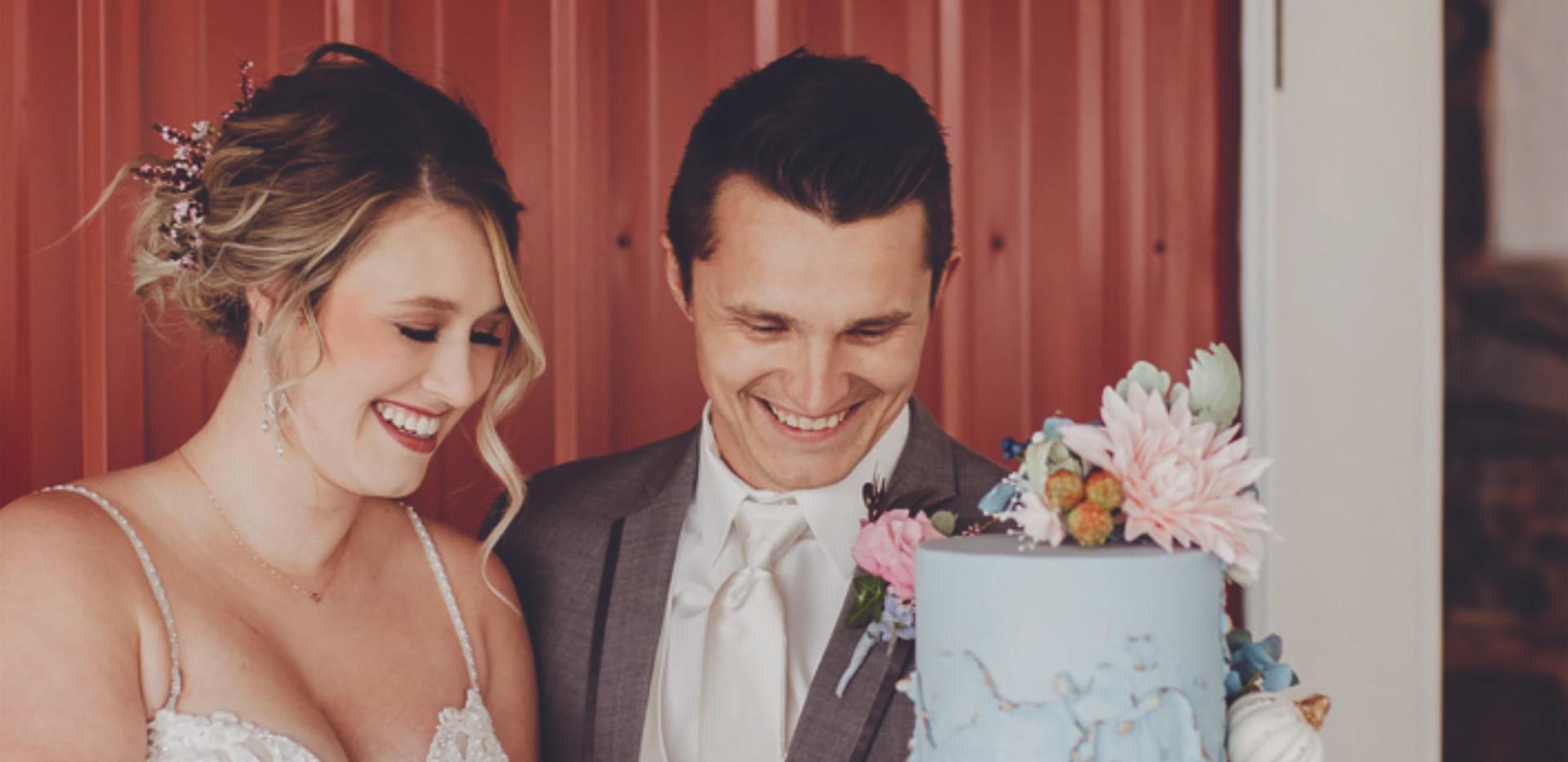 Fall blue ombre Wedding cake