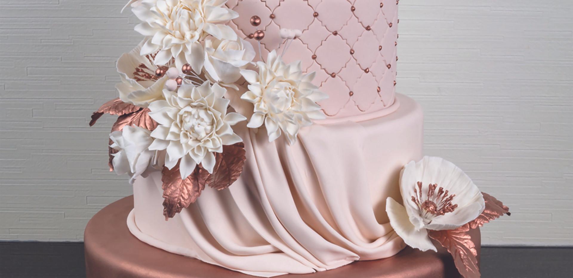 Copper Elegance Wedding Cake