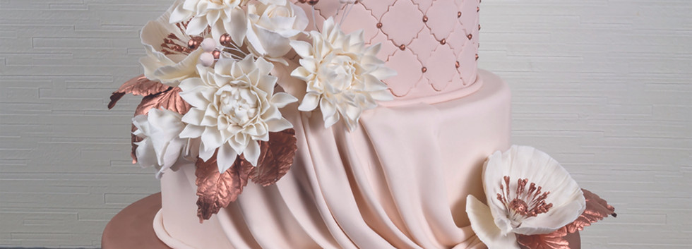 Copper Elegance Wedding Cake