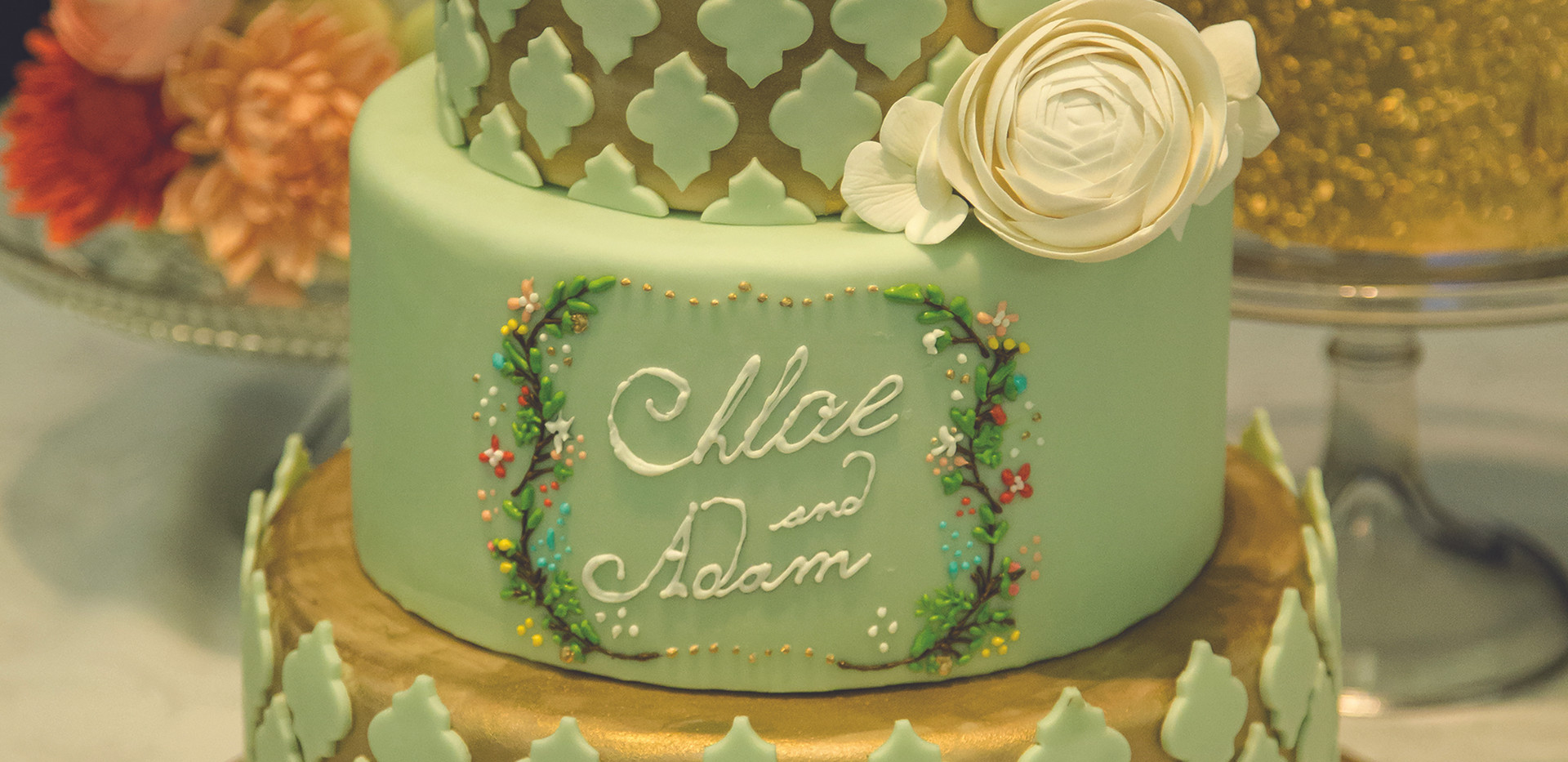 Gold and Mint Wedding Cake