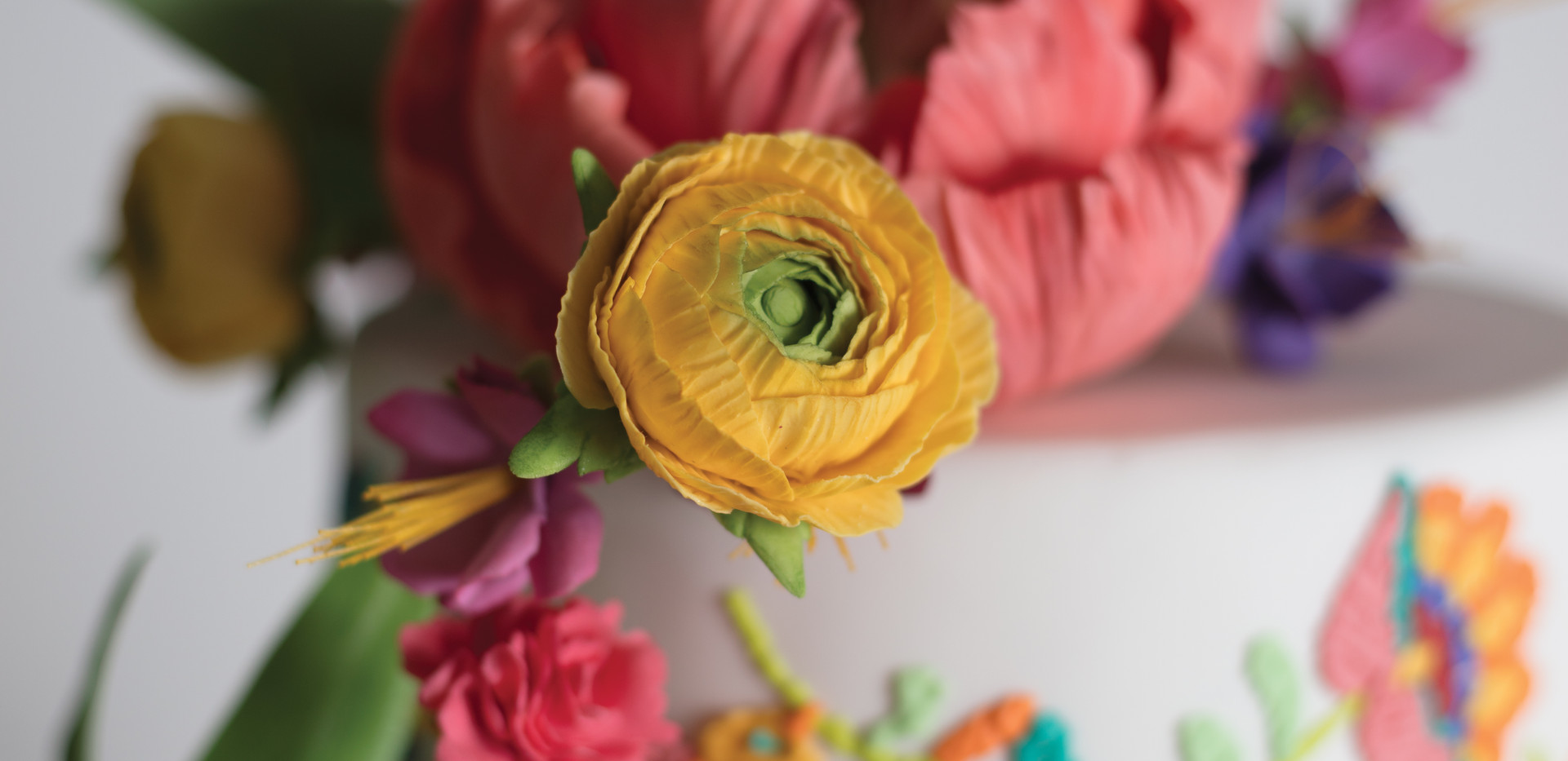 Festive Open Peony with Ranunculus