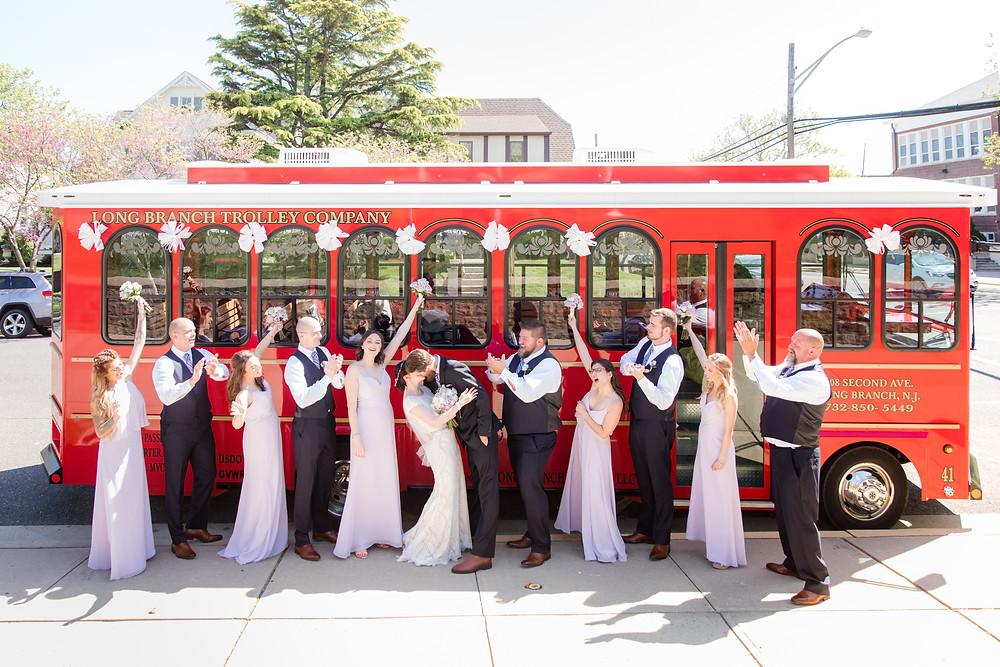 English Manor, NJ wedding, wedding party, trolley, Idalia Photography, Shore to Please Weddings