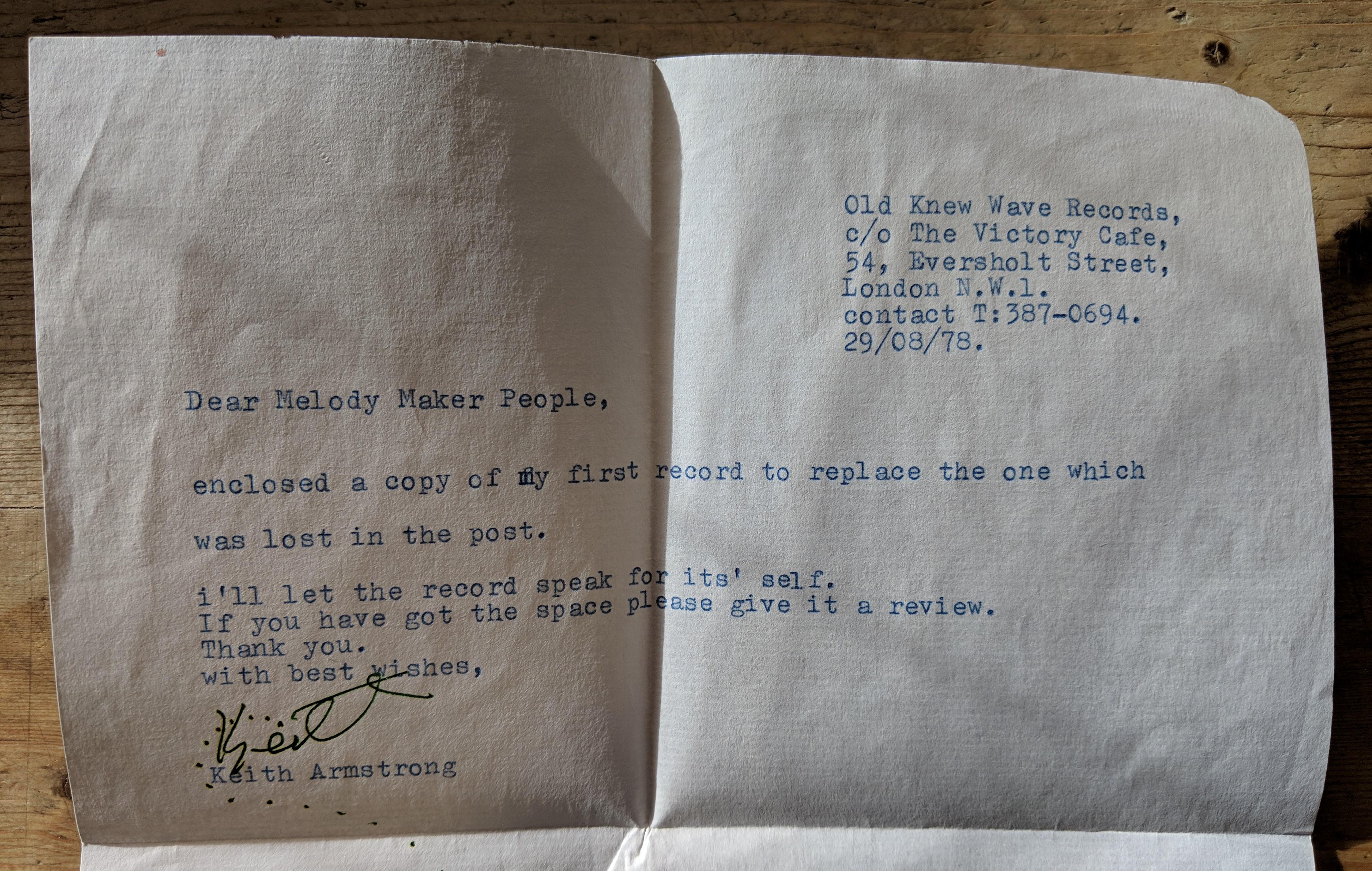 Melody Maker Letter