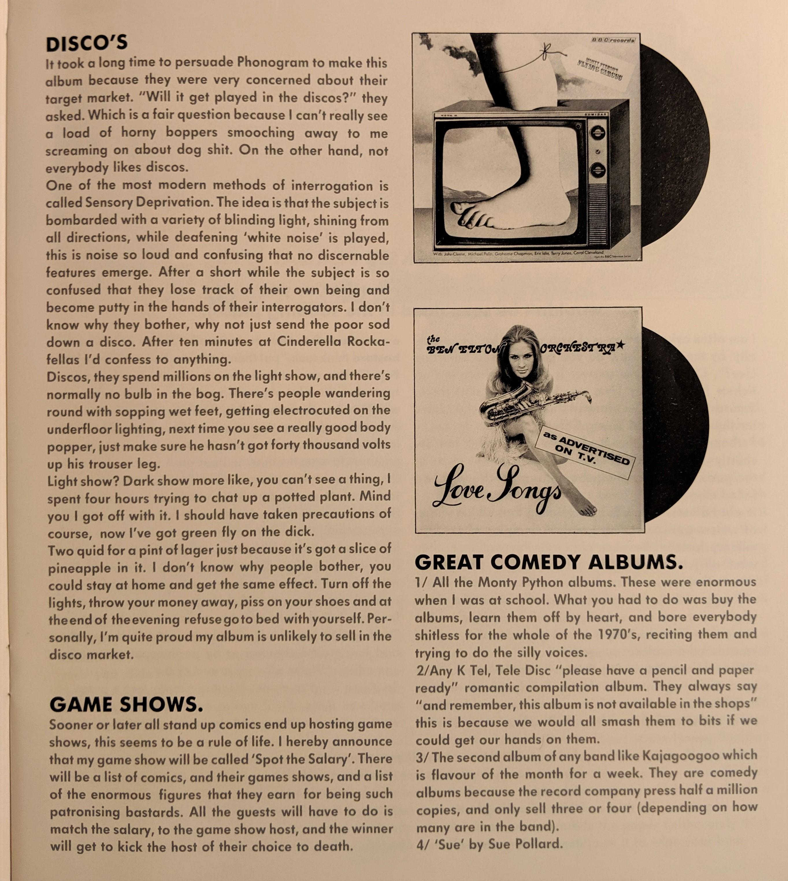 Ben Elton Tour Book