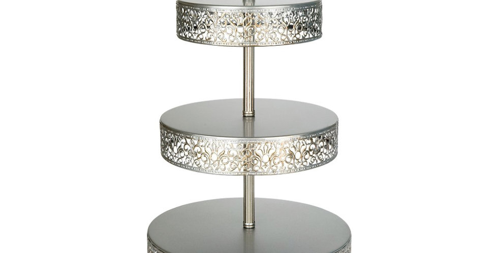 Silver 3 Tier Vintage Stand