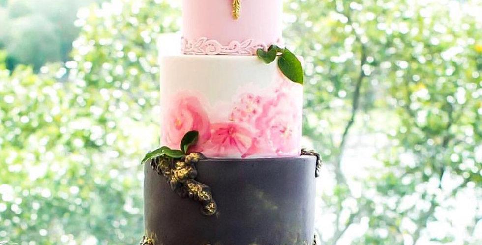 Black Mosser Milk Glass Cake Stand
