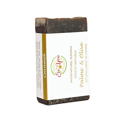 Savon olive, coco, palme RSPO, ricin  - Senteur Caramel