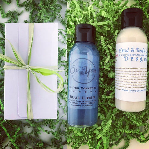 Coffret cadeau savon liquide Blue Linen lotion corporelleDragée