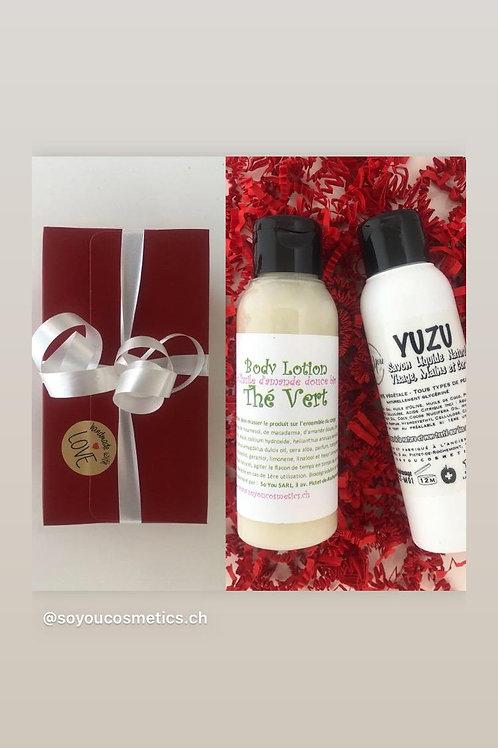 Coffret cadeau savon liquide Yuzu lotion corporelle Thé Vert