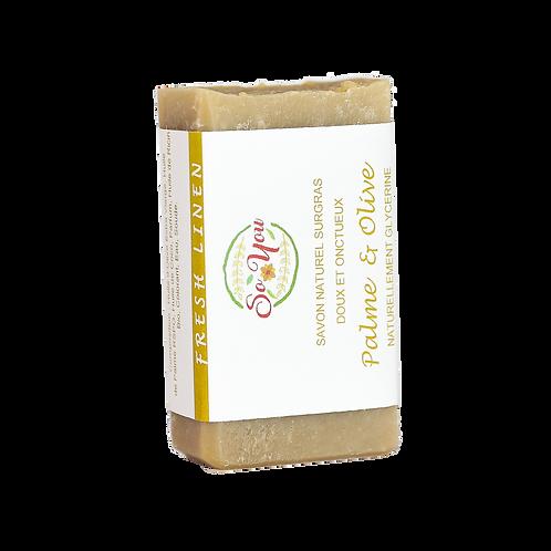 Savon olive, coco, ricin, palme RSPO - Senteur Lin Frais
