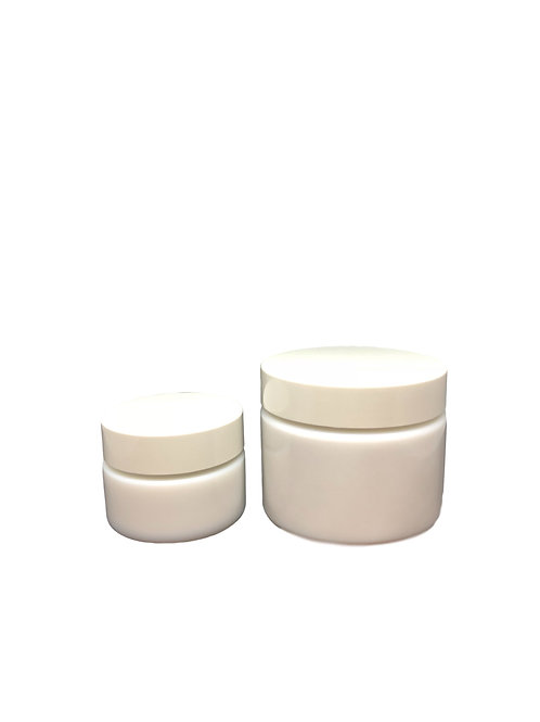 Pots en verre blanc opaque