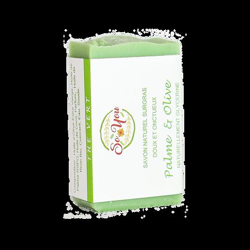 Savon olive, coco, ricin, palme RSPO - Senteur Thé Vert