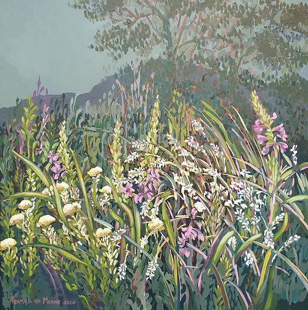 Fynbos overflow; Watsonias; 800 x 800mm;