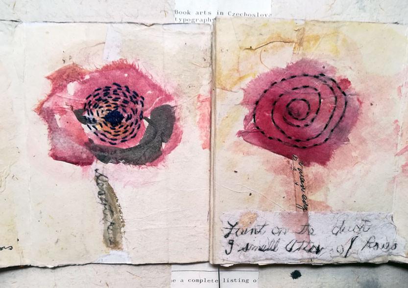 Pages from Liz Vels Artist book entitled Desert Rose