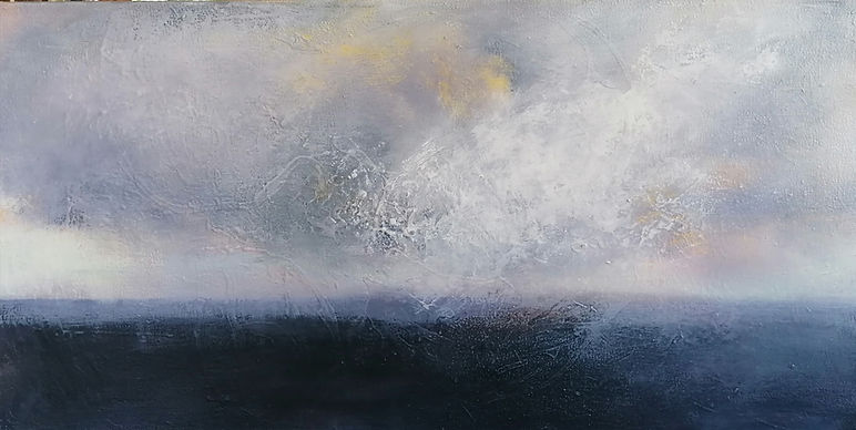 Jane Oliver  Running from the storm.  Oil on canvas  30 x 60 x 3 cms  2020 .jpg