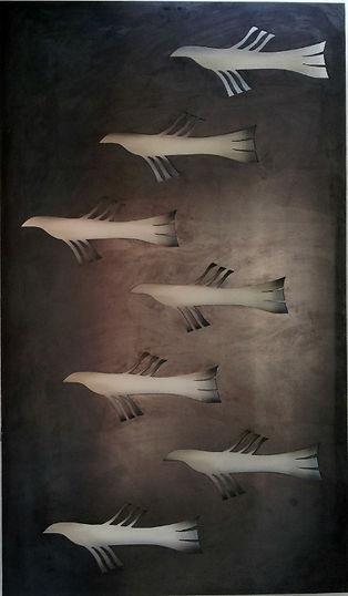 Bird Panel in mild steel with 7 birds