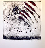 Theresa Jo, Ek het gedroom ek het per ongeluk Strijdom van der Merwe se vet uitstalling afgebrand. 2013. Etching on Hahnemuhler museum etching paper