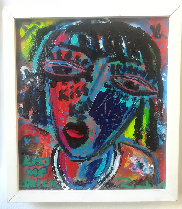 kiss kiss mixed media r1200 size24 by 26