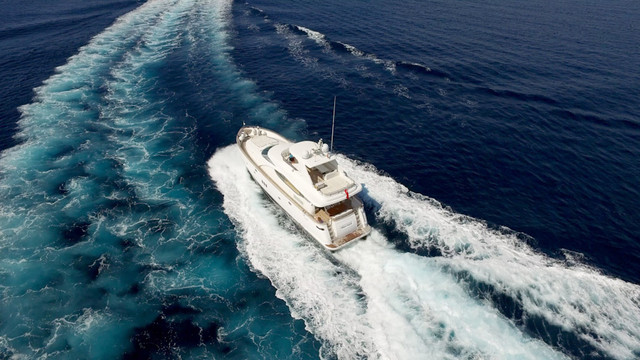 Aerial image luxury yacht Mallorca