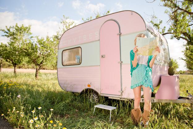 Her pink caravan