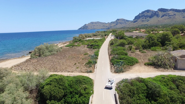 Aerial photo car driving at the coast, Mallorca
