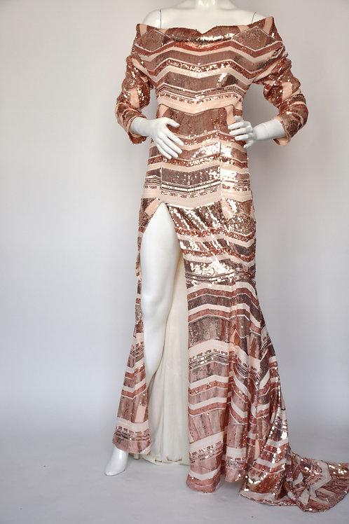 Dell Scott - Chevron Sequins Gown