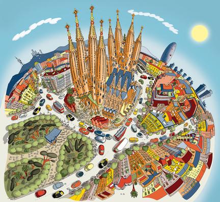 Barcelona, Sagrada Familia (Colourful)