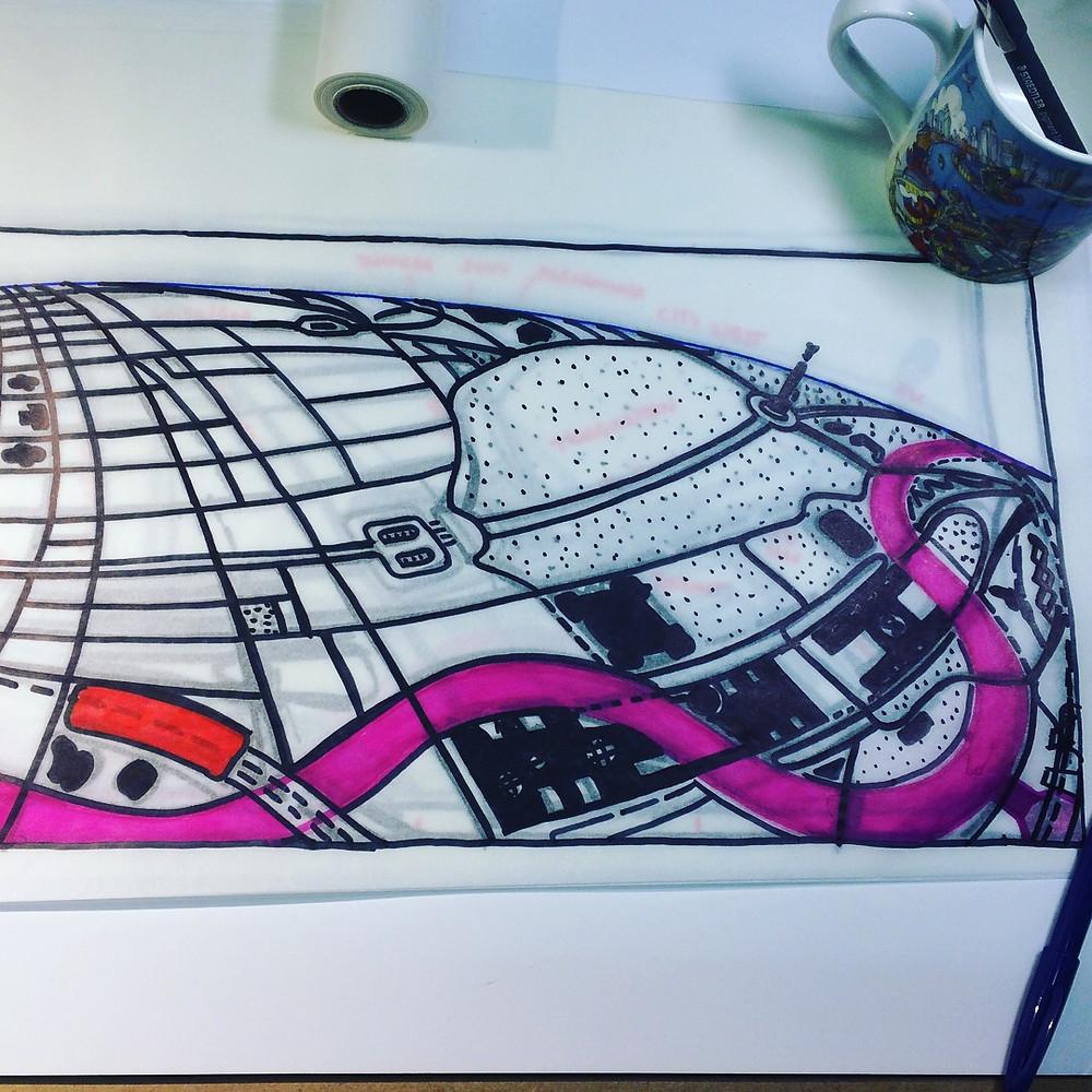 Berlin Looking South - layout sketch - refined street layout