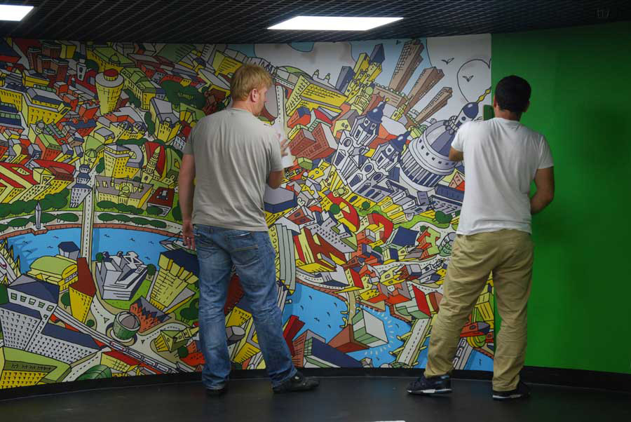 Mini Park Lane Wall Mural Design