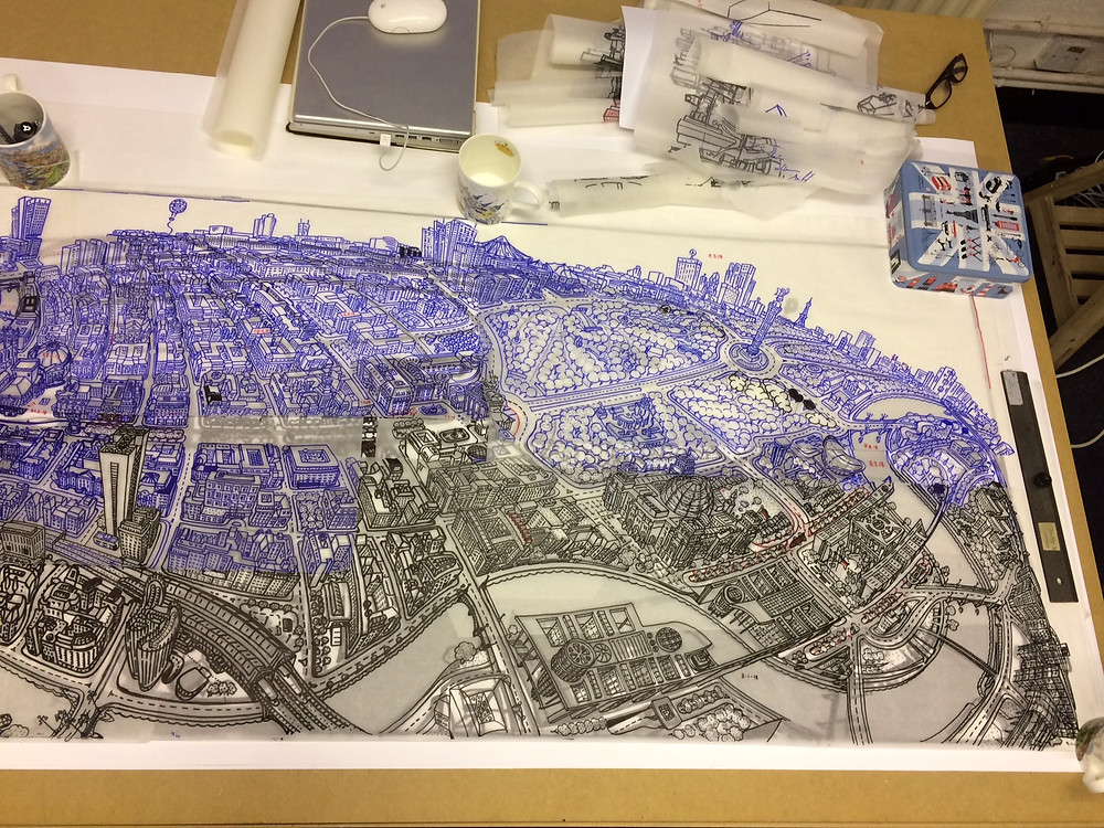 Berlin Looking South - Preliminary Drawing