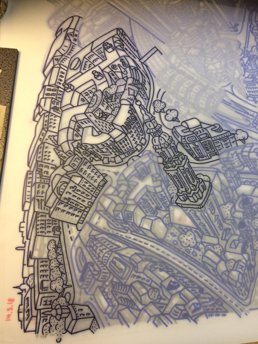 Berlin Looking South - Fine Liner Drawing