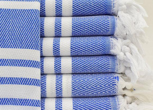 Herringbone hand towel -Cobalt Blue