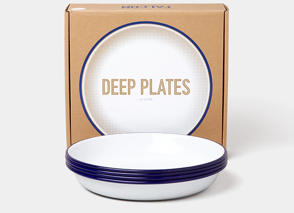 4 pack of Falcon enamel 22cm deep plates