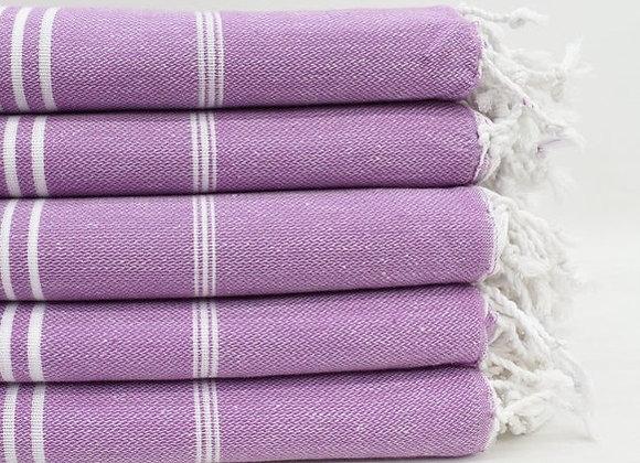 Purple striped Hammam Turkish beach towel