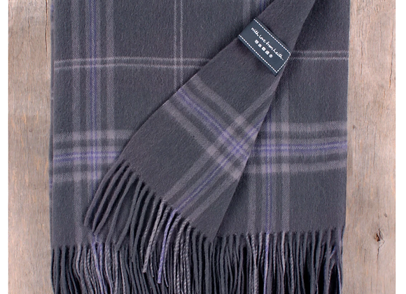 Persevere Flint Grey Tartan Lambswool Full blanket