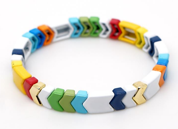 Multi coloured arrow enamel beaded bracelet