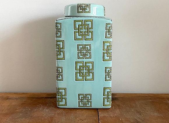 Turquoise rectangular Ginger Jar Medium