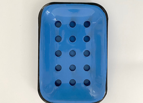 Blue enamel soap dish