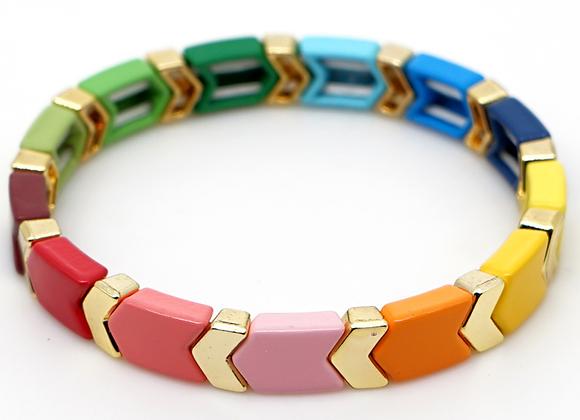 Rainbow and gold enamel arrow bracelet