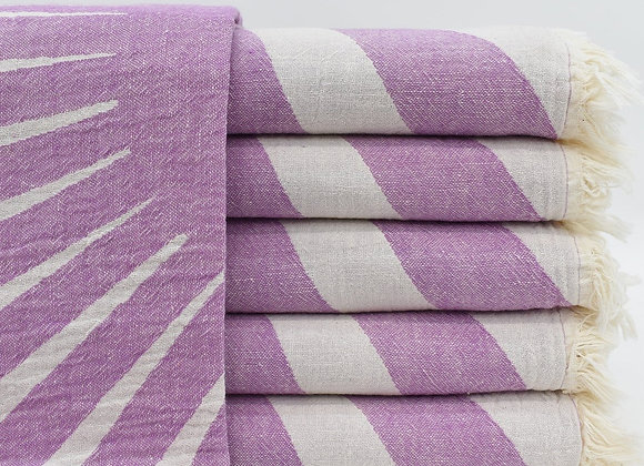 Purple sunray jacquard Turkish beach towel