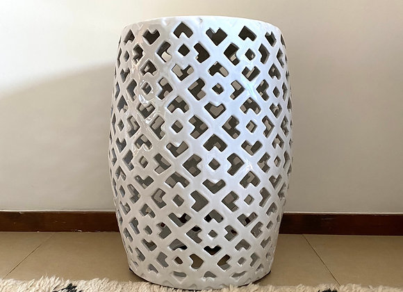 White cut out ceramic stool
