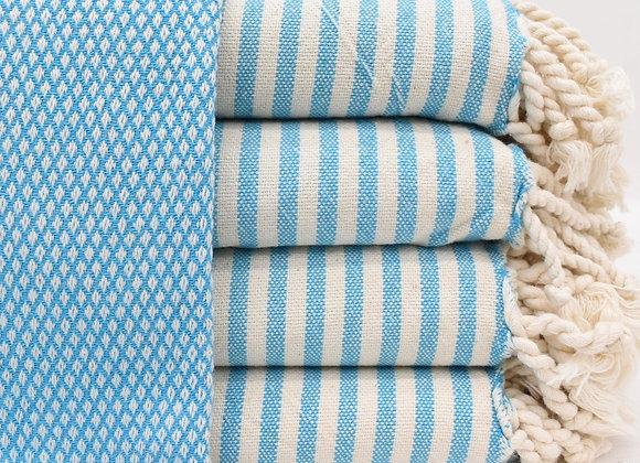 Soft Stripe trim Turkish beach towel -Blue