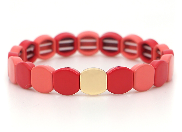 Red and pink Enamel beaded bracelet