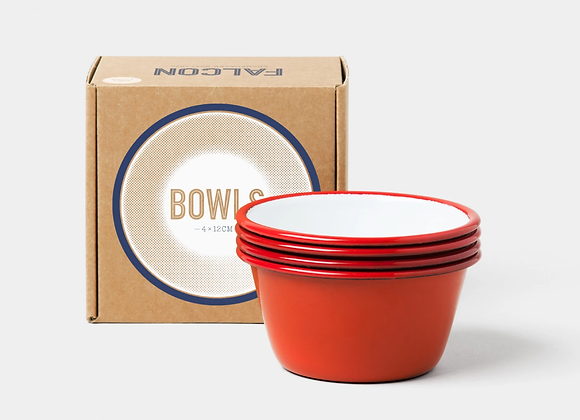 4 pack of Falcon enamel 12cm bowls - Pillarbox red