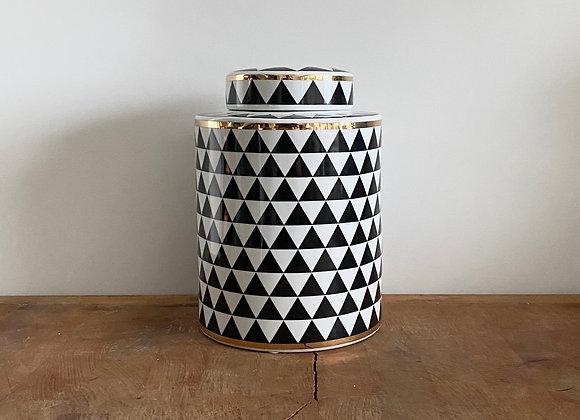 Medium black, white and gold Ginger jar
